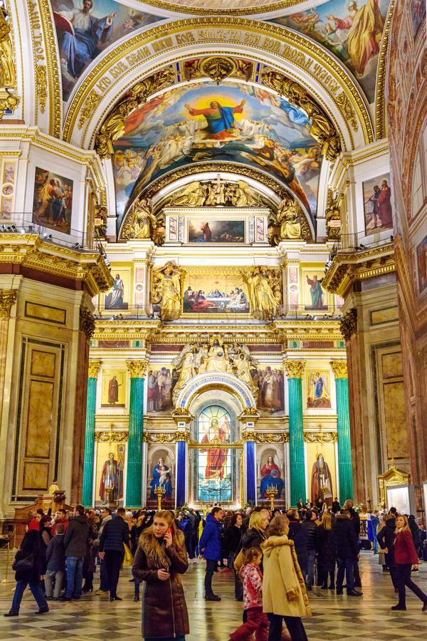 Interior of Saint Isaac`s Cathedral or Isaakievskiy Sobor in Saint Petersburg. Russia. Saint Petersburg, Russia - January 6, 2018: Interior of Saint Isaac`s stock photography