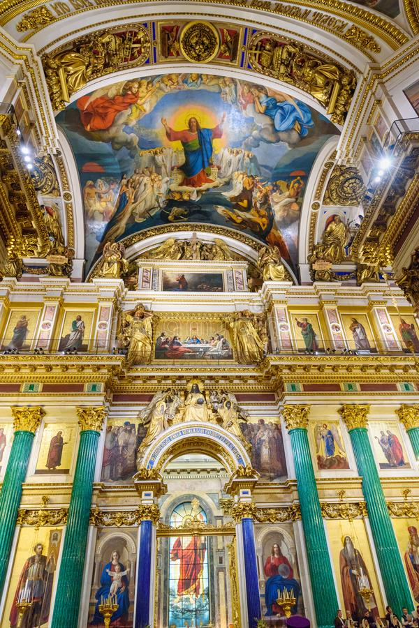 Interior of Saint Isaac`s Cathedral or Isaakievskiy Sobor in Saint Petersburg. Russia. Saint Petersburg, Russia - January 6, 2018: Interior of Saint Isaac`s royalty free stock image