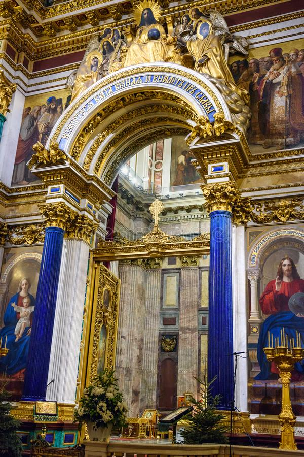 Interior of Saint Isaac`s Cathedral or Isaakievskiy Sobor in Saint Petersburg. Russia. Saint Petersburg, Russia - January 6, 2018: Interior of Saint Isaac`s royalty free stock photo
