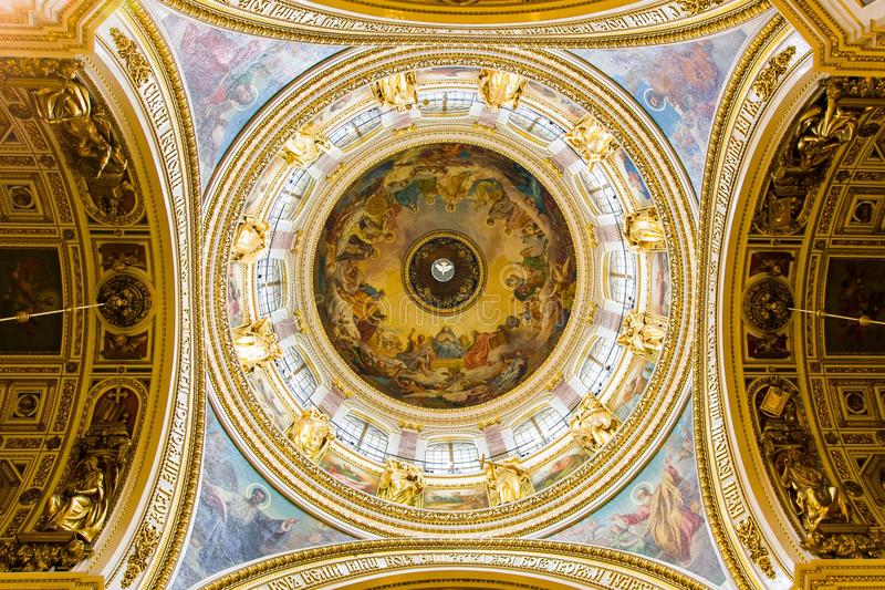 Interior of the Saint Isaac's Cathedral. In St. Petersburg, Russia royalty free stock image