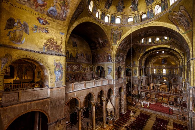 Interior of the Saint Mark`s Basilica in Venice. Venice, Italy - May 21, 2017: Interior of the Saint Mark`s Basilica Basilica di San Marco. Basilica di San Marco royalty free stock image