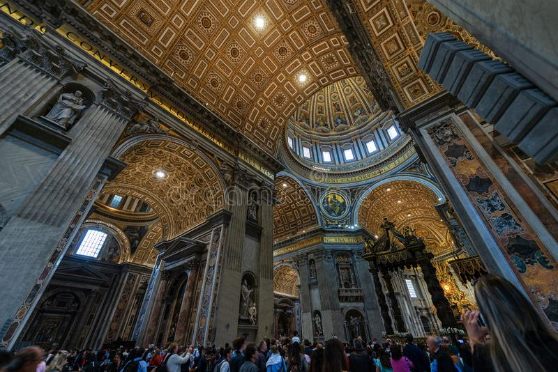 Interior of Saint Peter Basilica - Vatican city Rome royalty free stock photos