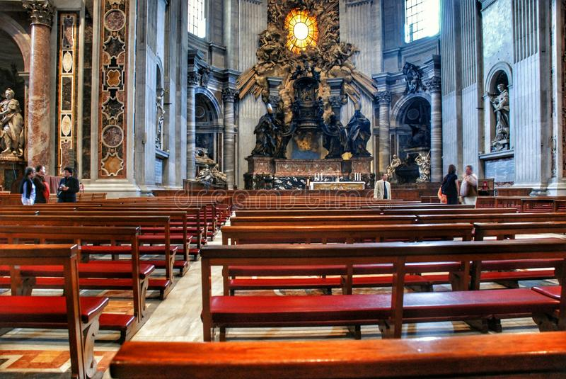 Interior of the Saint Peter Cathedral in Vatican. Interior of the St. Peters Basilica until recently was considered largest Christian church in world royalty free stock images