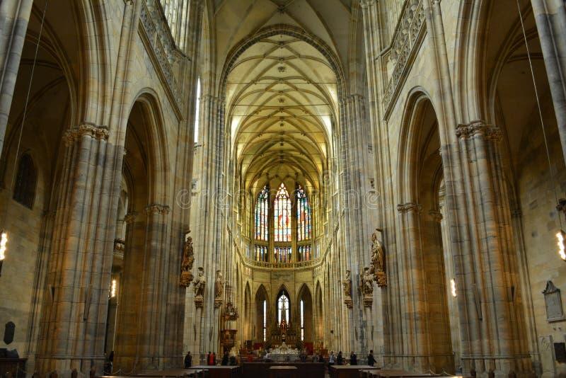 Interior of Saint Vitus Cathedral in Prague stock photos