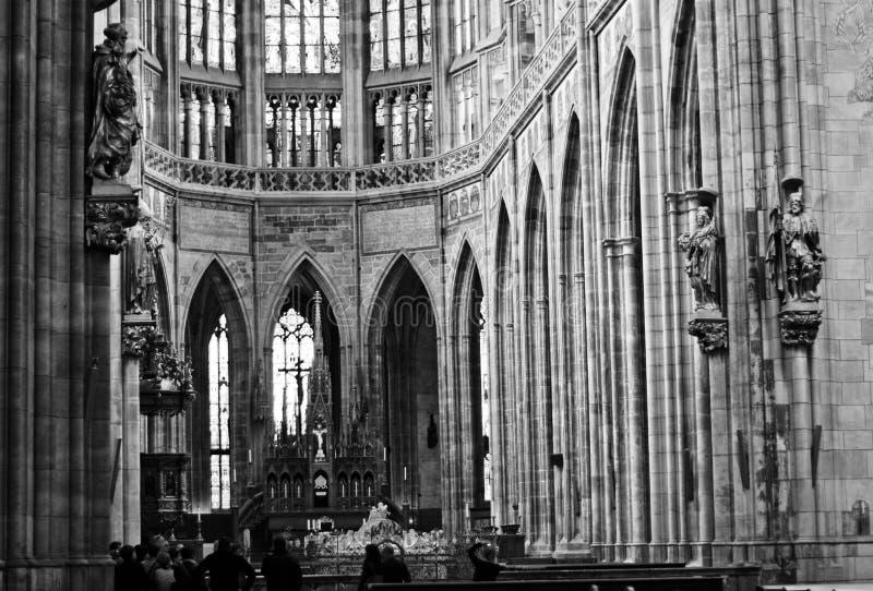 Interior of Saint Vitus's Cathedral in Prague stock photos