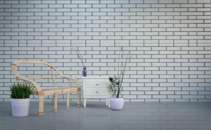 Interior, sala de visitas, tabela e plantas modernos do sótão no fundo cinzento brilhante da parede de tijolos, rendição 3d ilustração stock