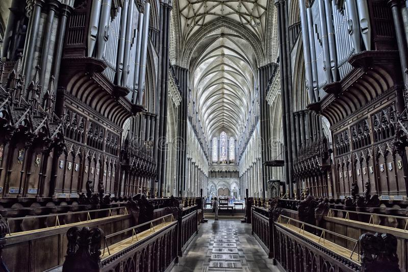 Interior Salisbury Cathedral stock photos