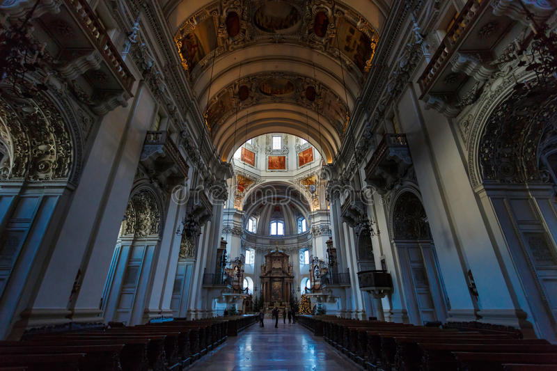 Interior of Salzburg Cathedral Church royalty free stock image