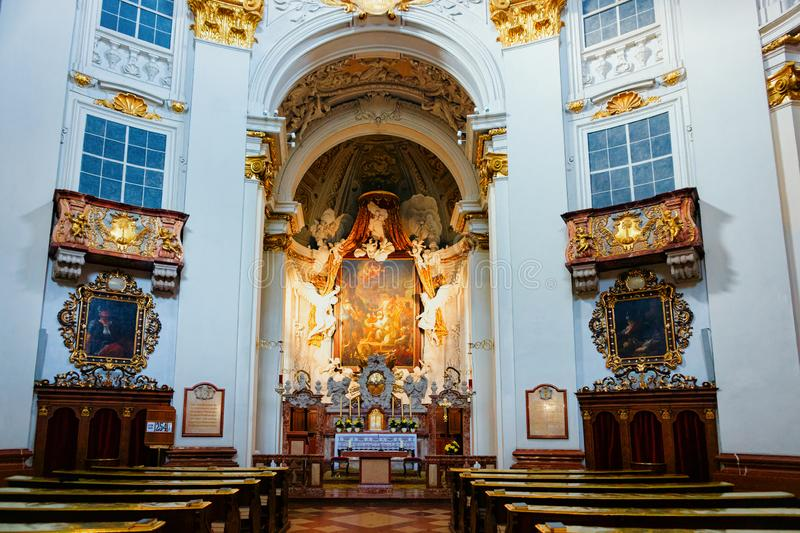 Interior of Salzburger Dom or Salzburg Cathedral Austria royalty free stock images