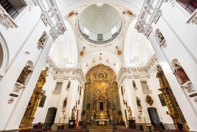 Interior of San Ildefonso Church or Jesuit church Iglesia de San Idelfonso, Toledo, Spain royalty free stock image