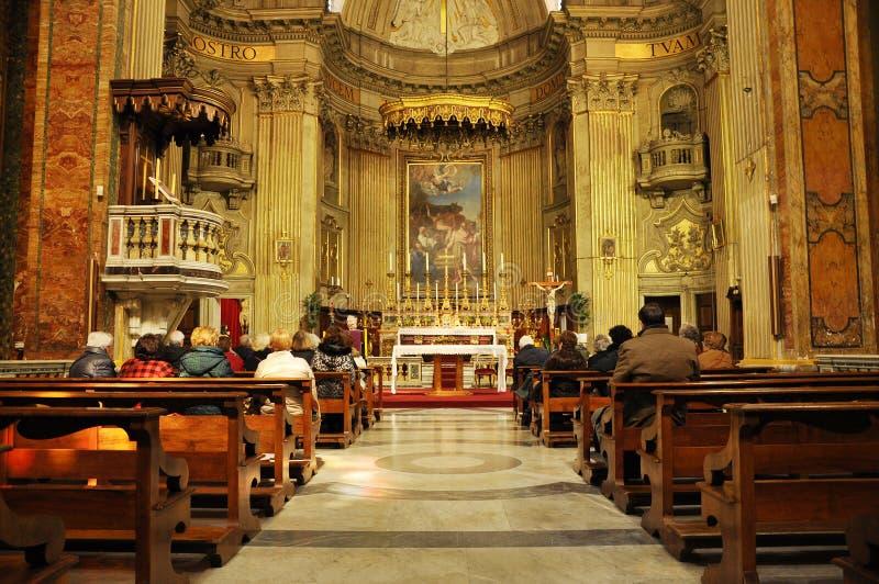 Interior of the Sant`Eustachio Catholic church in Rome, Italy. ROME, ITALY - MARCH 13, 2016: Sant`Eustachio is a Roman Catholic titular church and minor basilica stock image