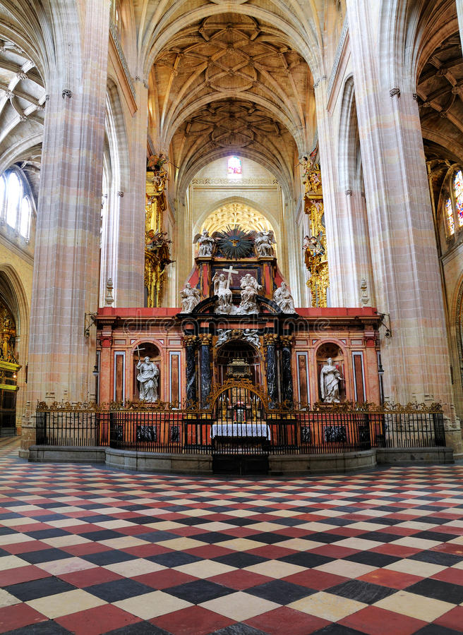 Interior of the Santa Maria de Segovia, Spain royalty free stock photography