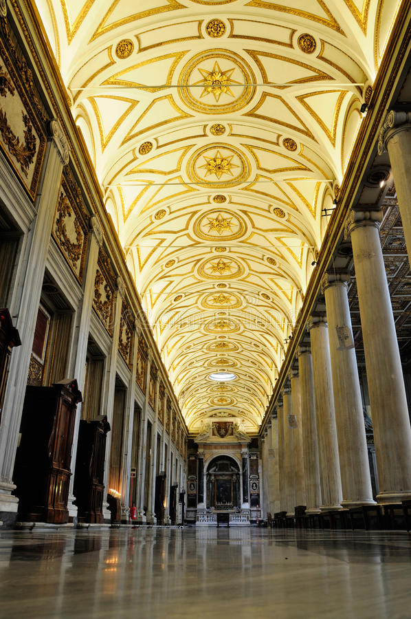 Interior of the Santa Maria Maggiore. This picture was taken in one of the aisles of the Santa Maria Maggiore in Rome, Italy royalty free stock images
