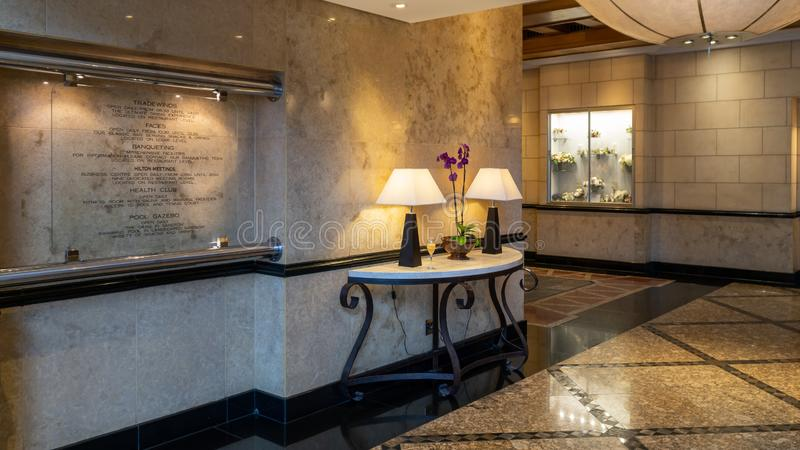 Interior scene from Hilton Sandton Hotel in Johannesburg, South Africa. Johannesburg, South Africa - October 2019: Interior scene from Hilton Sandton Hotel royalty free stock photography