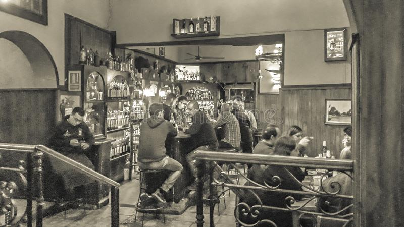 Interior Scene at Traditional Bar, Montevideo, Uruguay stock photos