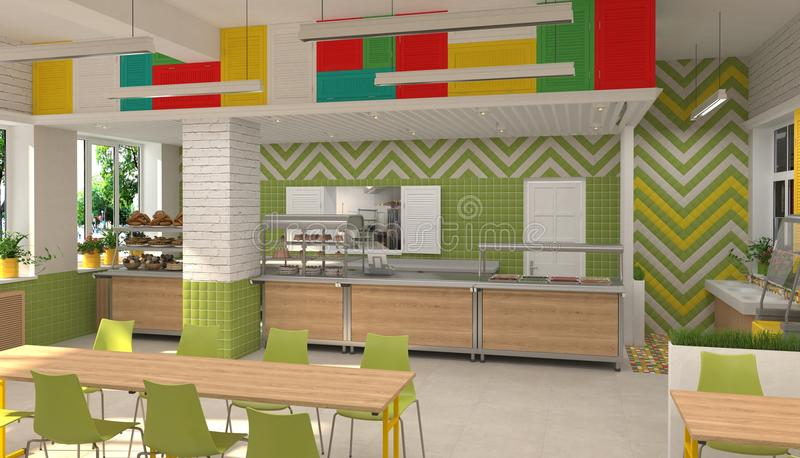 Download Interior Of The School Children`s Canteen. 3D Visualization Of Dining  Room For