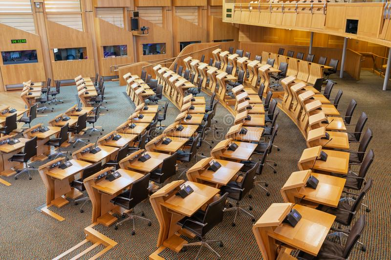 Interior Scottish parliament, the debating chamber. Edinburgh, Scotland - May 24, 2018: Interior Scottish parliament the debating chamber stock photography