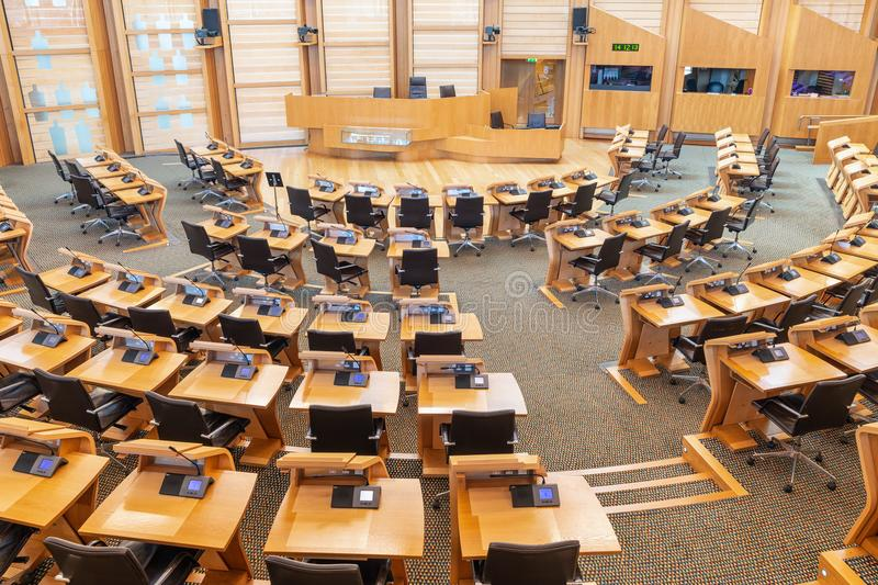 Interior Scottish parliament, the debating chamber. Edinburgh, Scotland - May 24, 2018: Interior Scottish parliament the debating chamber royalty free stock photo