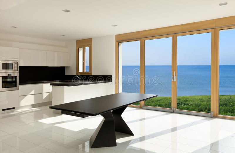 Interior, sea view. Home interior, view of the panoramic window royalty free stock photography