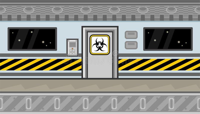 Interior sem emenda da nave espacial com porta e linha de advertência para o projeto de jogo ilustração do vetor