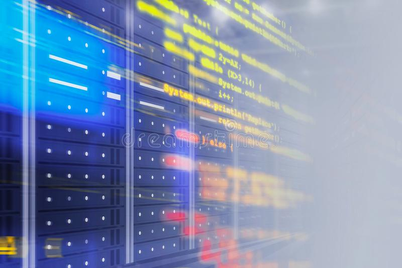 Interior of server room with lines of code. Server room interior with glowing blurred lines of code. Concept of hi tech, big data and cloud computing in business stock illustration