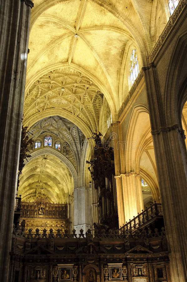 Interior of Seville cathedral, Spain stock image