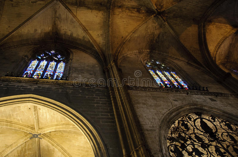 Interior of Seville cathedral, Spain stock photos