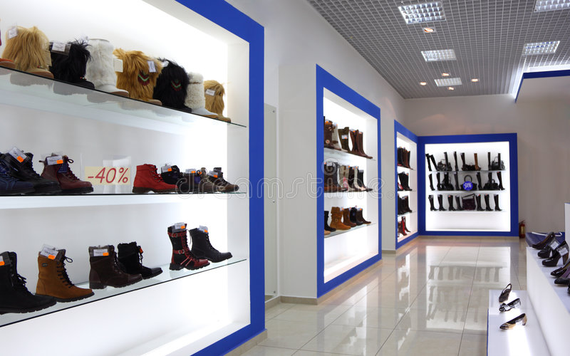 Interior of shoe shop. Modern Interior of shoe shop royalty free stock photo