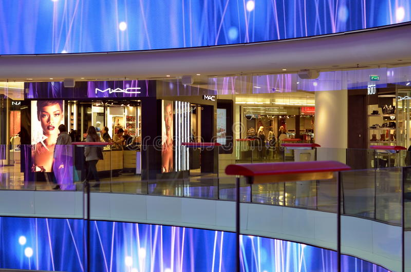 interior of shopping mall four seasons in paris editorial