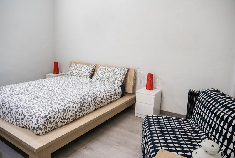 Interior shot of a cozy modern bedroom royalty free stock photo