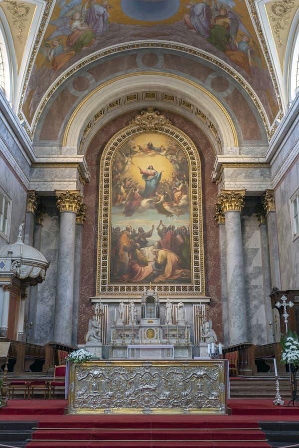 Interior shot of the Esztergom Basilica in Hungary.  stock photo