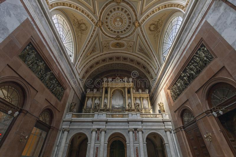 Interior shot of the Esztergom Basilica in Hungary.  royalty free stock photos