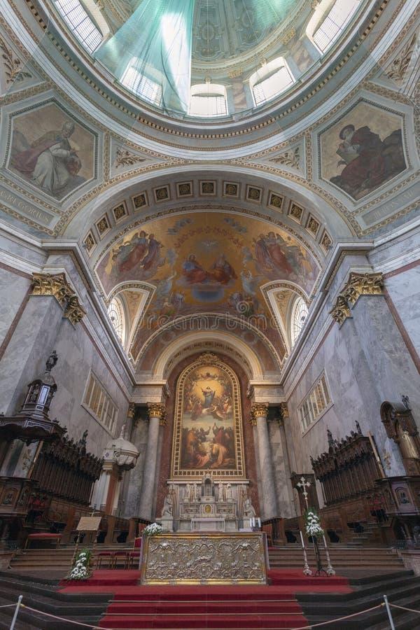 Interior shot of the Esztergom Basilica in Hungary.  stock image