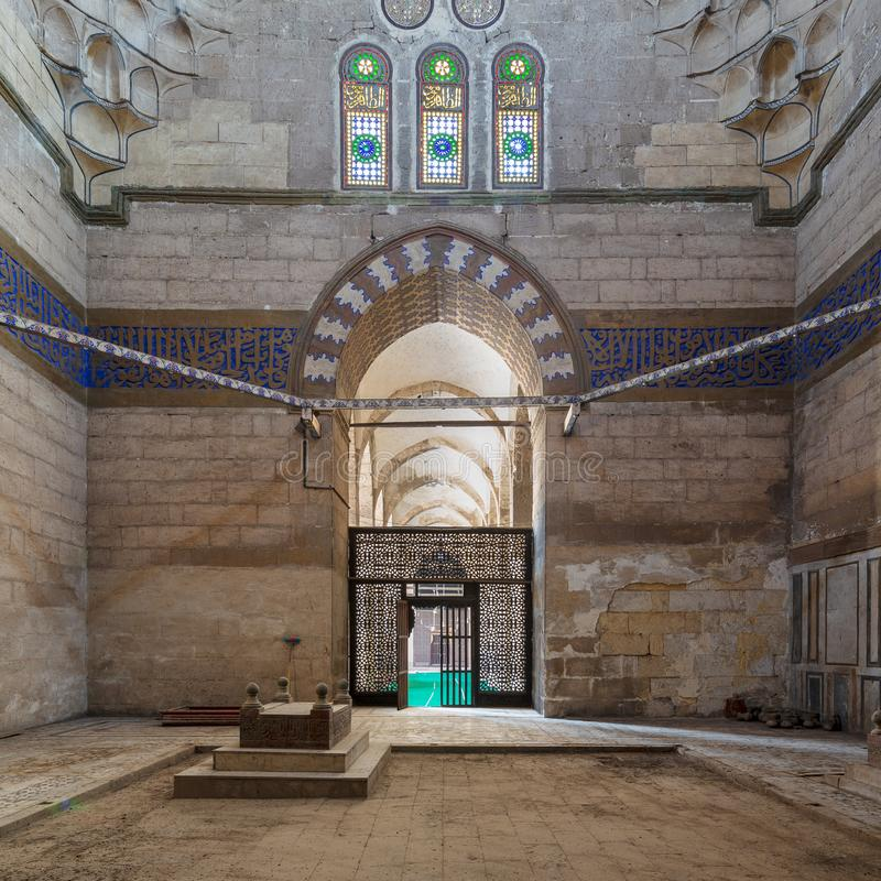 Mausoleum of Sultan Al Zaher Barquq wife and daughters at the complex of Al Nasr Farag Ibn Barquq complex, Cairo, Egypt royalty free stock images