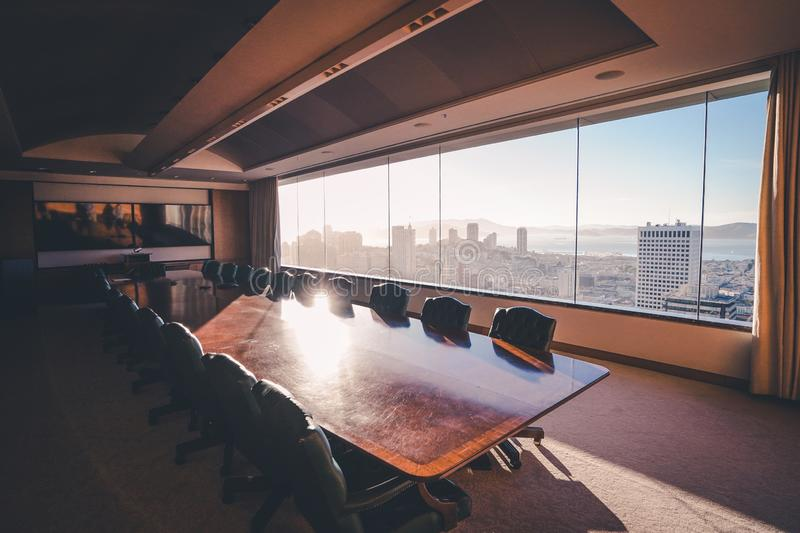 Interior shot of meeting room in a business building with a beautiful view of  downtown SF stock photos
