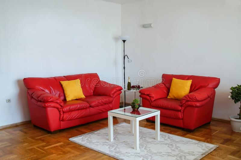 Interior shot of a modern living room. Living room with red leather sofa royalty free stock photography