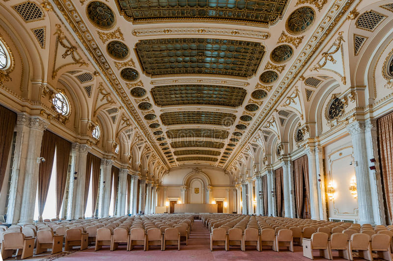 Interior shot with the Palace of Parliament. BUCHAREST, ROMANIA - MARCH 22: Interior shot with the Palace of Parliament on March 22, 2015 in Bucharest. The royalty free stock photo
