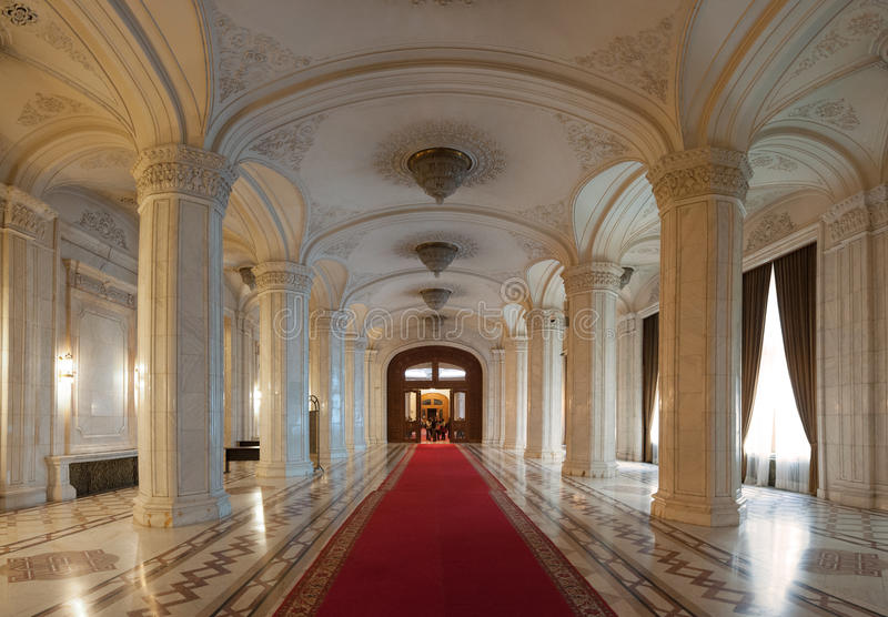 Interior shot with the Palace of Parliament. BUCHAREST, ROMANIA - MARCH 22: Interior shot with the Palace of Parliament on March 22, 2015 in Bucharest. The royalty free stock images