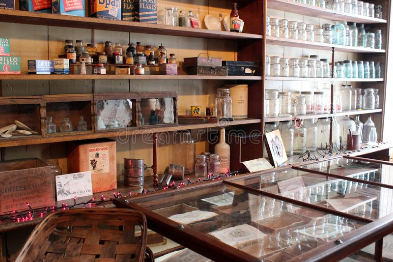 Interior shot of shop that once dealt with buyers on the Erie Canal, Old Palmyra, New York, 2018. Interior shot of Wm. Phelps General Store and Home Museum stock photo