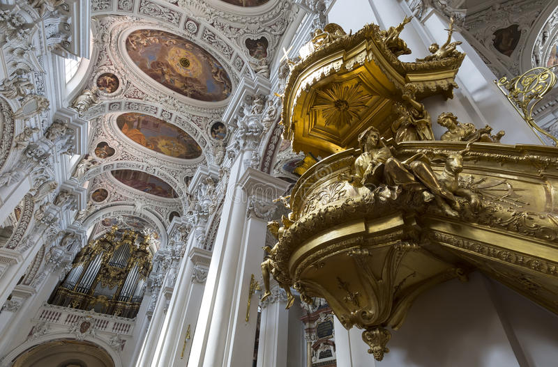 Interior shot of St. Stephan's Cathedral including organ. It is the largest cathedral organ in stock photo