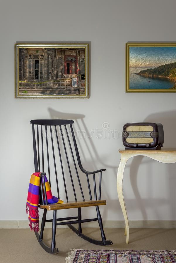 Download Vintage Rocking Chair And Old Radio On Old Style Vintage Table On  Background Of Off
