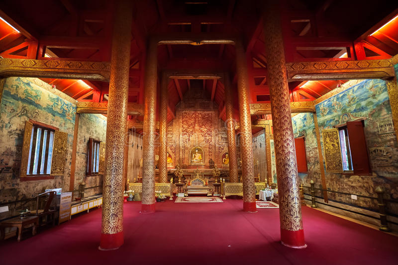 Interior shot of Wihan Lai Kham at Wat Phra Singh, Chiang Mai, Thailand. Interior shot of Wihan Lai Kham at Wat Phra Singh on March 11, 2015, Chiang Mai royalty free stock photos