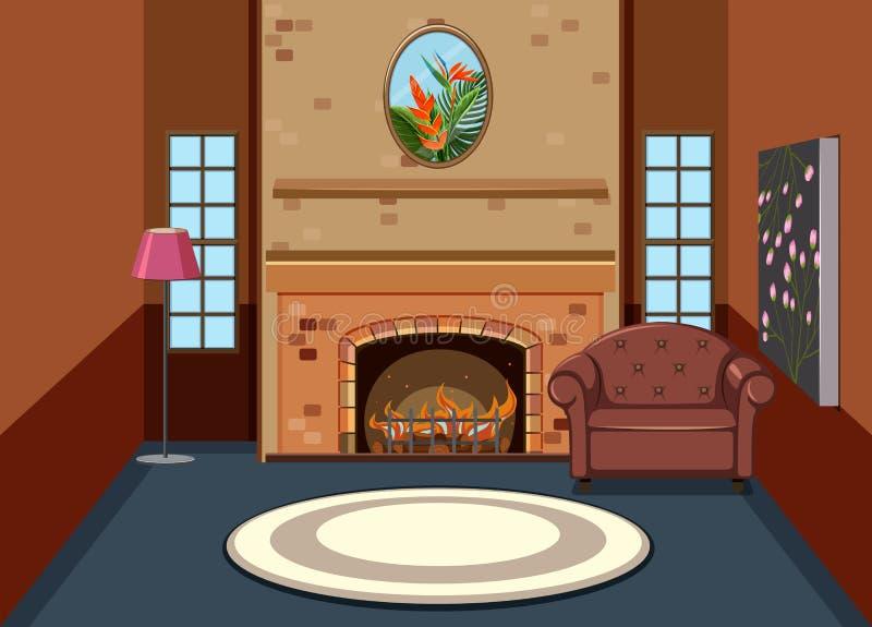 Interior simple plano de la sala de estar stock de ilustración