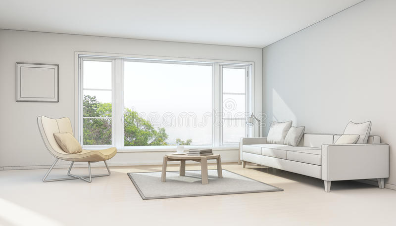 Download Interior Sketch Design, Living Room In Modern House Stock Photo    Image Of Dream