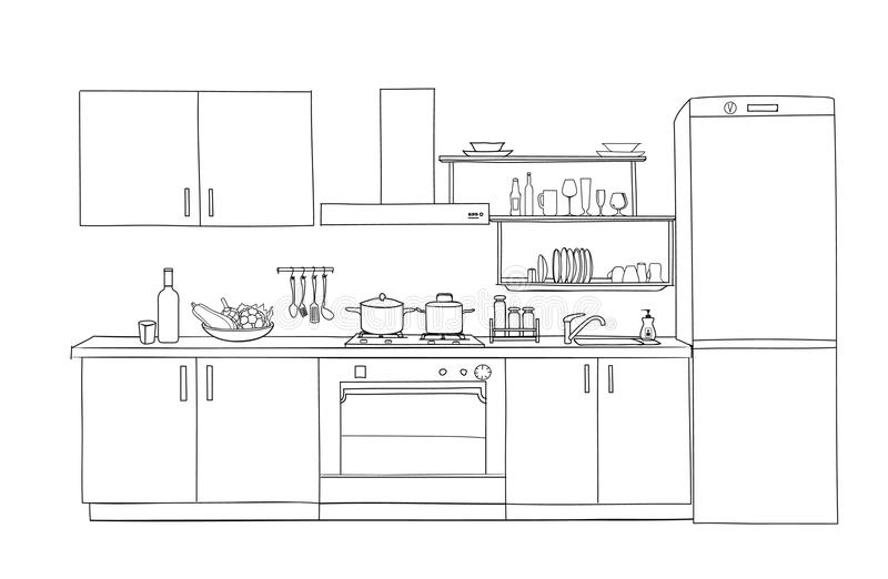 Download Interior Sketch Of Kitchen Room. Outline Blueprint Furniture  Design Stock Illustration   Illustration Of