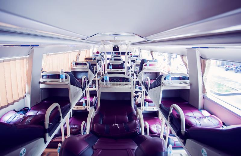 Interior of sleeper bus for tourists and other passengers royalty free stock photography