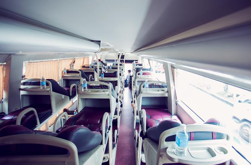 Interior of sleeper bus royalty free stock image