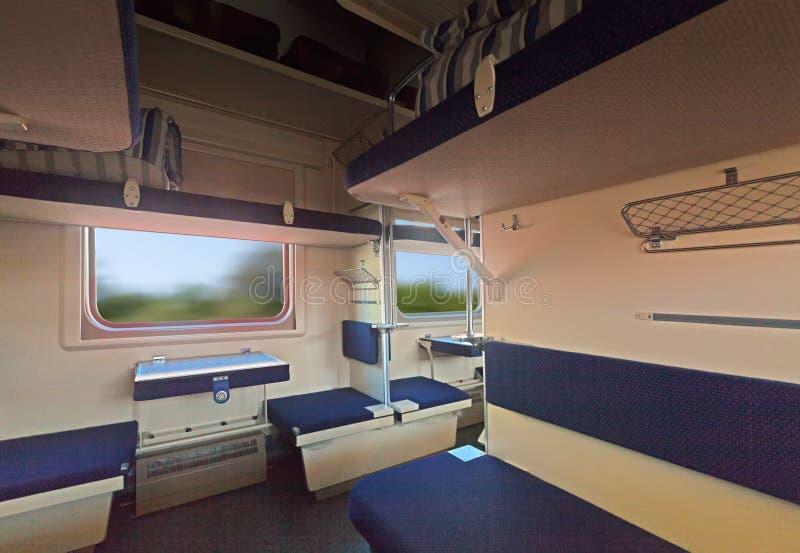 Interior of sleeper train royalty free stock photo