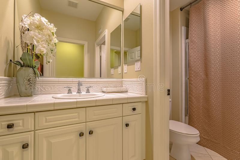 Interior of a small bathroom with a single sink vanity area and toilet stock images