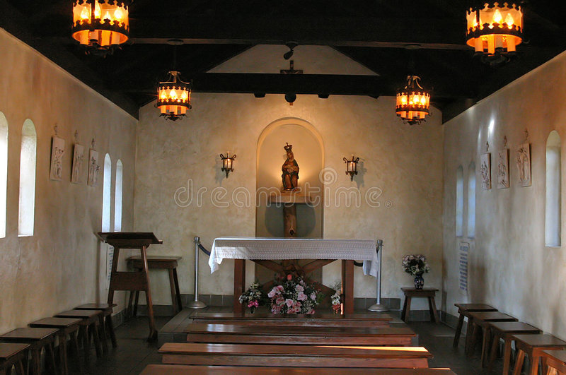 Interior of small chapel royalty free stock photos